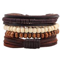 Wholesale wood chains for men resale online - Vintage Fashion Multilayer Braided Leather Bracelet for Men Women with Wood Bead Wrap Charm Bracelets Men Jewelry Pulseras