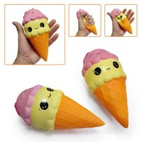Wholesale Food Ice - 16cm Jumbo Squishy Ice Cream Cone Smile Squishies Toy Big Scent Slow Rising Food DHL Free Shipping SQU034