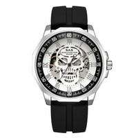 relógio de tubarão de luxo venda por atacado-DHL Atacado SAS Escudo Tubarão Âncora Dos Homens Esporte Relógio Automático Esqueleto Automático Militar Relógios de Pulso Relógios Top Marca de Luxo de Silicone