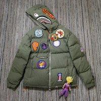 eski rozetler toptan satış-Hazır X Ape Köpekbalığı BaşkanıHooded Pamuk Ceketler Lüks Rahat Sokak Nakış rozeti Kış Ceket Erkekler Kadınlar HFLSJK254