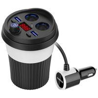 suporte do isqueiro do carro venda por atacado-1 Pcs Transmissor FM Bluetooth Música Do Carro MP3 Player Mãos Livres Car Kit Titular Cup Isqueiro USB Power Adapter Splitter