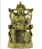 estatua del dios chino al por mayor-Folk Chinese Brass YuanBao Wealth Cai God Mammon Dragon Seat Estatua de bronce