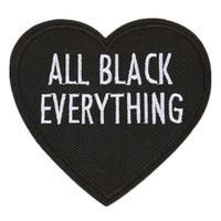 kalp şeklinde çanta toptan satış-Nakış Mektup Yama Tüm Siyah Her Şey Kalp Şekli Başarmak Için Demir On İşlemeli Yamalar Rozetleri Çanta Kot Şapka T Gömlek DIY Aplikler