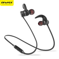 Wholesale Cordless Headsets - Free Shipping AWEI Sports Bluetooth Earphone Wireless Headphone Noise Reduction Auriculares Cordless Headphones Casque 10h Music