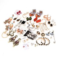 Wholesale Bohemia Glass Wholesale - Bulk Lots Retro Glass Resin Drop Earring Studs Alloy Rhinestone Chandelier Bohemia Punk Ethnic Mixed Designs Alloy Dangles