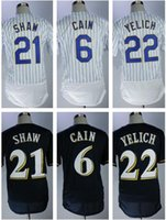 Wholesale andrew shaw jersey - 2018 New Arrival Men's Milwaukee Jerseys Lorenzo Cain Jersey Christian Yelich Flexbase Jersey Travis Shaw Baseball Jerseys Navy White Stripe