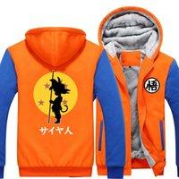 Wholesale Black Animated - New Dragon Ball Animate Hoodie mens Thicken Fleece Zipper Jacket Super Saiyan Goku DBZ fast ship Sportswear Jacket -A
