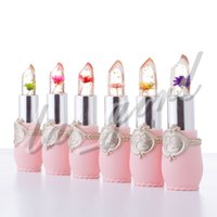 flower jelly lipstick großhandel-Wasserdichter Blumen-Lipstick-Gelee-Blumen-transparente Farbändernde Lippenstift-langlebige mit 6 Farben-Blumen-Lippenstiften