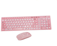 teclado rosa pc al por mayor-Girls and Children Fashion Cartoon Pink Hello Kitty Designer Ratón inalámbrico con teclado para PC / TV