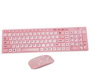 muchachas del teclado al por mayor-Girls and Children Fashion Cartoon Pink Hello Kitty Designer Ratón inalámbrico con teclado para PC / TV