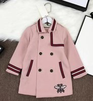 Wholesale girls double breasted jacket for sale - Preppy Style Girls coat spring autumn Luxurious Long Overcoat kids pink Double breasted clothes Fashion jacket