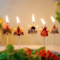velas animais venda por atacado-5 Pçs / set Bonito vela zoo party forma Carnaval animal aniversário velas