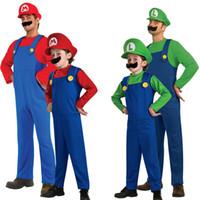 costume mario star achat en gros de-Adulte Enfants Enfant Enfant Enfants Hommes Garçons Super Mario Luigi Frères Déguisements Plombier Jeu Cosplay Costume De Bain