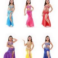 Wholesale girls belly dance skirt costume - S802# Kids Girls Belly Dance Costume (Top,Belt,Skirt) 8 Colors