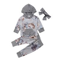 костюм девушки цветка оптовых-Newborn Baby Girls Hooded Flower Tops Shirt Pants Striped Winter Fall Warm Outfit Light Purple Tracksuit Clothes 3pcs