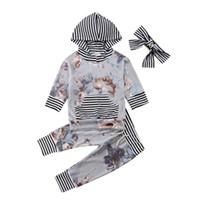 зимняя одежда для новорожденных оптовых-Newborn Baby Girls Hooded Flower Tops Shirt Pants Striped Winter Fall Warm Outfit Light Purple Tracksuit Clothes 3pcs