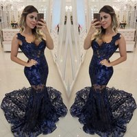 Wholesale new model t shirt v neck for sale - Group buy Dark Blue Mermaid Evening Dresses Lace Sexy See Through Spaghetti Deep V Neck Special Unique Designer Brand New Appliques Party Dress