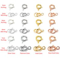 Wholesale connector 7mm for sale - 10pcs MM Sterling Silver Spring Buckle With Ring Loop Silver Clasp Chain Buckles Connectors For DIY Jewellery Accessories