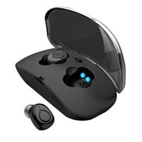 ingrosso auricolari vivavoce-X18 TWS Invisible Mini Auricolari Bluetooth senza fili auricolare 3D Stereo Vivavoce Riduzione del rumore Auricolare Bluetooth per iphone con custodia di ricarica