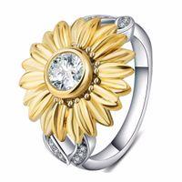 ayçiçeği kuyumcu aksesuarları toptan satış-Shellhard Moda Kadınlar Takı Aksesuarları Gümüş Kaplama Ayçiçeği Yüzük Benzersiz Sarı Düğün Mücevherat bisutería bijoux