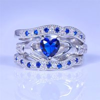 Wholesale ring paved stone online - NEW Cute Heart Blue Stone Ring Set for Women Wedding Jewelry K white gold plated CZ Crystal Engagement Bridal Rings Sets R615