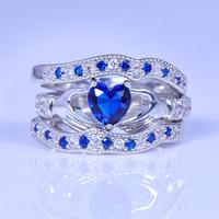 sevimli nişan yüzükleri toptan satış-YENI Sevimli Kalp Mavi Taş Yüzük Kadınlar için Set Düğün Takı 14 K beyaz altın kaplama CZ Kristal Nişan Gelin Yüzükler Setleri R615
