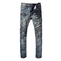 Wholesale mens washed jeans - Balmain Fashion New mens Biker Jeans Motorcycle Slim Fit Washed Blue Moto Denim skinny Elastic Pants Joggers For Men jeans