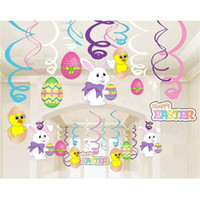 ingrosso coniglio di nozze-New Rabbit Painted Eggshell Spiral Foil Swirls Banner Pasqua Wedding Party Hang Decorazioni Articoli per feste Vendita calda 20ys C