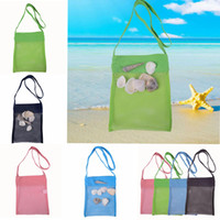 Wholesale Kids Stocks - 4 color Beach Mesh Pouch New Towel Mesh Carrying Box Tote Kid Ball Pouch Beach storage bag EEA100
