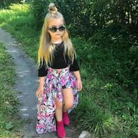 neuer schatz großhandel-Vieeolove Ins Babys Kinder Mädchen Kleidung 3Sets 2018 Neue Sommer Floral T-Shits Top Shorts Röcke 3Sets VL-1690-2