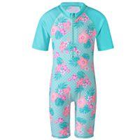 Wholesale white swimwear for girls for sale - Girls Swimsuit UV UPF50 Flower Pattern One Piece Swimwear for Kids Y Summer Child Boys Swimming Surfing Suit with Zipper