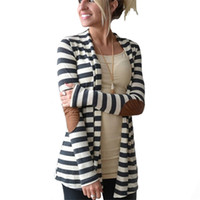 7616261d52 2017 Autumn Striped Printed Cardigan Women Long Sleeve Open Stitch Knitted  Sweater Poncho Casual Outerwear Jacket Coat
