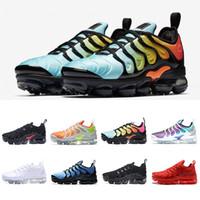 Wholesale Aqua Flats - New Vapormax TN Plus Shoes bleached aqua Black white Grape Men Shoes For Running Male Shoe Pack Triple Black Mens Shoes eur 40-45
