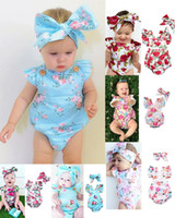 Wholesale girls rompers black white - Infants baby girl floral rompers Bodysuit with headbands Ruffles sleeve 2pcs set buttons 2018 summer Ins briefs 0-2years