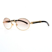Wholesale optical lens - Luxury Black Buffalo Horn Brand mens Sunglasses designer Optical Glasses 18K Gold Oval Frame White Natural Horn Sunglasses for women
