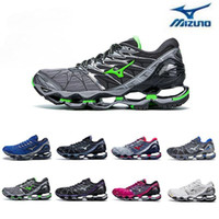 yeni dalga üstü toptan satış-2018 Yeni Mizuno Dalga Kehanet 7 Koşu Ayakkabı Tampon moda Mens Womens Originals En Kaliteli Spor Sneakers grimsi menekşe Boyutu 36-45