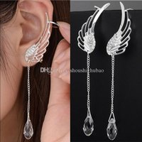 Wholesale winged cuff earrings for sale - Group buy 925 Sterling Silver Angel Wing Stylist Crystal Earrings Drop Dangle Ear Stud For Women Long Cuff Earring