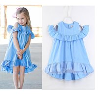 Wholesale falbala clothing - Baby Girl INS dress New ins Children Cartoon sleeveless dew shoulder blue falbala dresses kids clothes 2-7 years B11