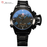 Wholesale Alarm Number - Great White SHARK Sport Watch Digital LED Dual Time Date Day Alarm Men's Blue Number Black Stainless Steel Quartz Watches  SH032