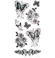 tatuagens pequenas sexy venda por atacado-3 pcs 3d borboleta preta Tatuagem Temporária Tatuagem Para O Homem Mulher Adesivos À Prova D 'Água maquiagem