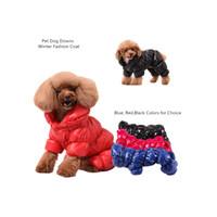 hund parka jacken großhandel-Red Winter Pet Poloneck Rollkragen Warm Hundeparka Kleidung Kleine Hunde Daunenmantel 4 Beine Jacke Medium Chihuahua XS Blau Schwarz
