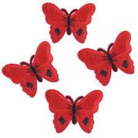 ingrosso farfalla patch ricamata in ferro-Patch rosso farfalla fai da te per abbigliamento ferro su o cucire tessuto adesivo per vestiti Patch distintivo ricamato appliques 10 pezzi / set