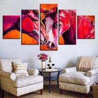 kahverengi tuval resmi toptan satış-Tuval Duvar Sanatı Poster Oturma Odası Baskılar Hayvan Resimleri 5 Parça Kahverengi Atlı Atlar Soyut Resim Modüler Ev Dekor
