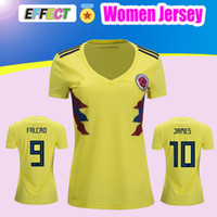 Wholesale Ladies Army Shirt - WOMEN 2018 World Cup Colombia Girl soccer Jersey Colombia Lady home yellow FALCAO JAMES CUADRADO Soccer uniform Football Shirts