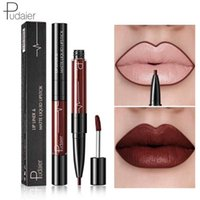 Wholesale tattoo lips tint for sale - Pudaier Matte Lip Gloss Lip Liner in1 Maquiagem Profissional Completa Agate Red Lip Tint Plumper Tattoo Makeup liquid Lipstick