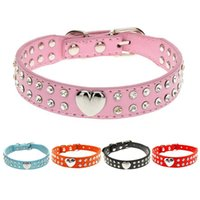 Wholesale pink leather dog collar large - 2 Rows Bling Rhinestone Puppy Dog Collar Pink Color Cat Necklace Bling Heart Studded For chihuahua Small to Medium Dogs