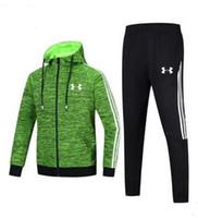 ingrosso maglioni di forma fisica-Autunno e inverno nuovo a due pezzi di alta qualità LOGO abbigliamento sportivo da uomo con cappuccio cardigan maglione abbigliamento fitness