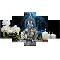 statues croisées achat en gros de-Broderie de diamant 5 Pièces Statue de Bouddha Thaïlandais, peinture de diamant 3d, image de mosaïque de diamants complet de strass décor de point de croix