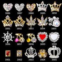 elmas saplı kirazlar toptan satış-100 ADET 3D Tırnak Takı Altın Metal Hollow Out Taç Ile Çapraz yaprak kiraz Rhinestones Rhinestones Içinde Tırnak Takı 3386-3905