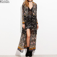 Wholesale wholesale chiffon cardigan - Wholesale- 2017 ZANZEA Boho Womens Floral Print Chiffon Long Sleeve Kimono Summer Beach Cover Ups Maxi Long Tops Jacket Cardigans Plus Size